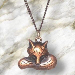 """Bronzed Sleepy Fox 20"""" inch Necklace"""